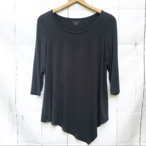 Appleseed's Black Asymmetrical Top Tee Stretch